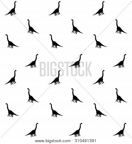 Vector Seamless Pattern Of Black Silhouette Of Brachiosaurus Isolated On White Background