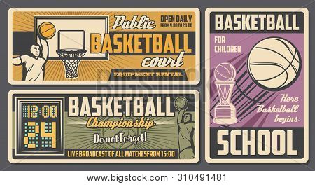 Basketball Sport Retro Design With Vector Balls, Winner Trophy Cup And Basket, Players, Arena And Sc