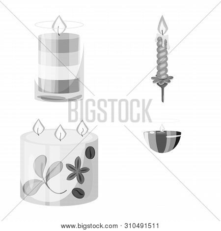 Vector Illustration Of Paraffin And Fire Icon. Set Of Paraffin And Decoration Vector Icon For Stock.