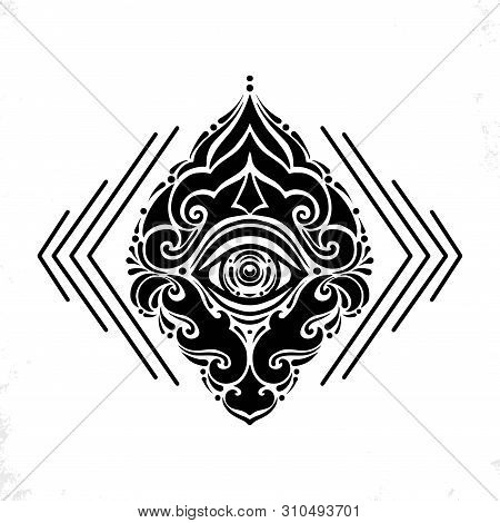 Polynesian Tattoo Design.ancient Polynesian Native Ornament, Isolated On White, Vector Illustration.