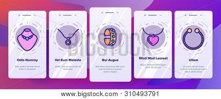 Jewelery Line Icon Set Vector Onboarding Mobile App Page Screen. Diamond Luxury Jewelery Symbol. Gem