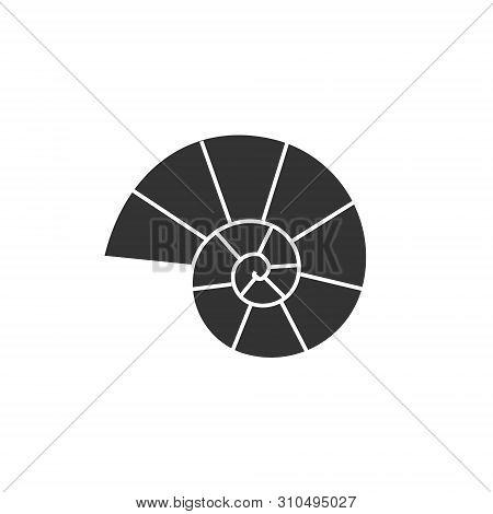 Vector Flat Black Ammonite Silhouette Logo Isolated On White Background