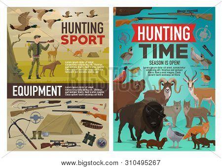 Hunting Sport Vector Design Of Hunter Equipment, Animals And Birds. Cartoon Huntsman With Dog And Ri