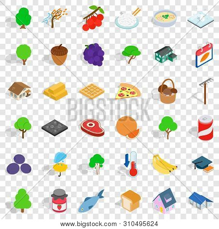 Umbrella Icons Set. Isometric Style Of 36 Umbrella Vector Icons For Web For Any Design