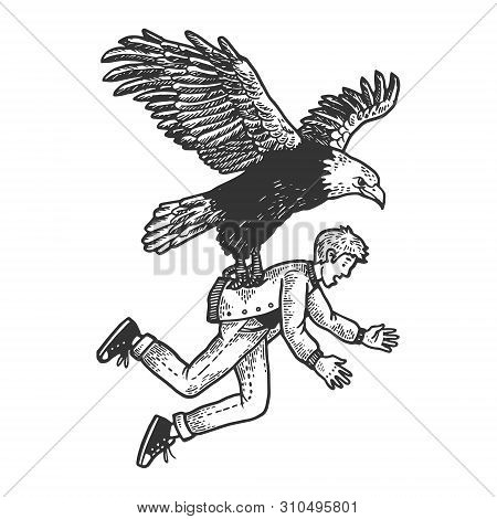 Eagle Bird Of Prey Kidnaps Human Person Sketch Engraving Vector Illustration. Scratch Board Style Im