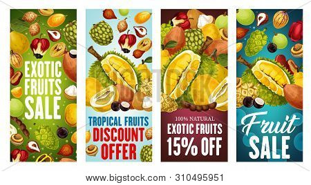 Exotic Fruits Sale Vector Banners With Discount Price Offers Of Asian Tropical Berries. Thai Durian,