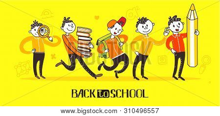 Teenager School Boys Set Wearing Casual Slim Fit Dressing, Walking And Running Pose, Front, Rear Vie