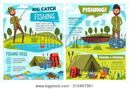 Fishing Sport Fish, Fisherman Tackle, Gears And Tourism Equipment Vector Design. Cartoon Fishers Wit