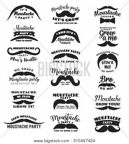 Mustache Party Or Movember Mens Health Vector Icons. Gro Mo Bro, No Shave Season Symbols Of Mustache