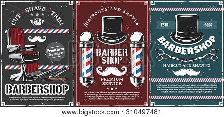 Barbershop Vector Design Of Men Haircut, Beard And Mustache Shave Saloon. Retro Poles Of Barber Shop