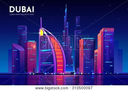 Dubai City With Hotel Tower Skyline, Neon Illumination. Uae Night Cityscape Architecture Background,