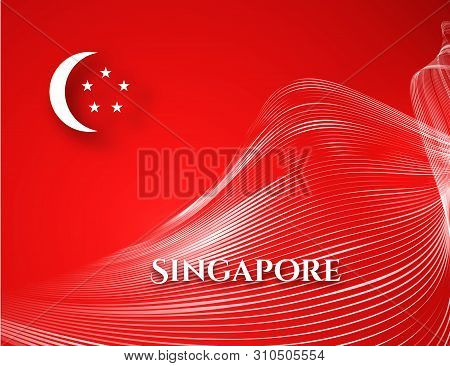 Banner Singapore Flag On A Red Background Curved Pattern White Waveform Line Text Singapore Patrioti