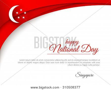 Banner Happy National Day Singapore Curved Pattern Red Lines On A White Background Patriotic Celebra