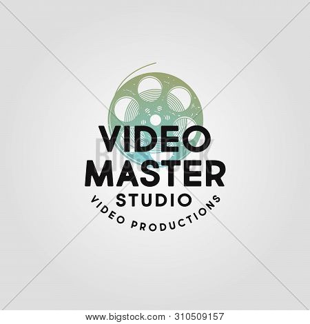 Video Master Logo. Video Production Studio Emblem. Symbol Of Cine-film With Letters. Scratches, Shab