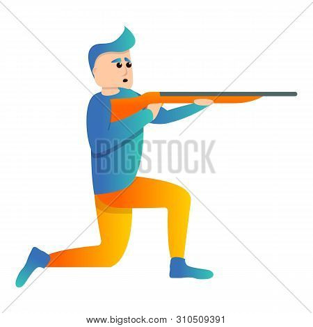 On Knee Sport Shooting Icon. Cartoon Of On Knee Sport Shooting Vector Icon For Web Design Isolated O