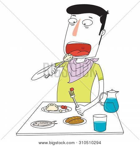 Illustration Of A Man Eating Some Delicious Foods Happily