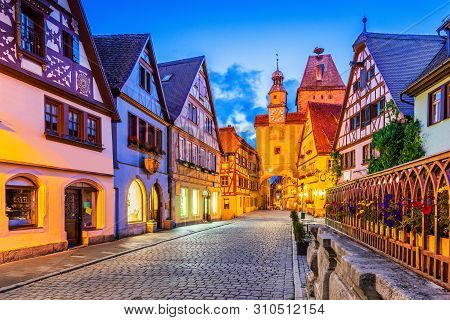Rothenburg, Germany. Medieval Town Of Rothenburg Ob Der Tauber At Night.