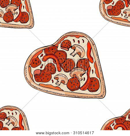 Seamless Pattern With Whole  Pizza In Heart Shape Isolated On White Background. Hand Drawn Ink  And