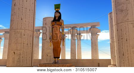 Egyptian God Hathor 3d Illustration - Hathor Was Significant Goddess In Egyptian Mythology As Being