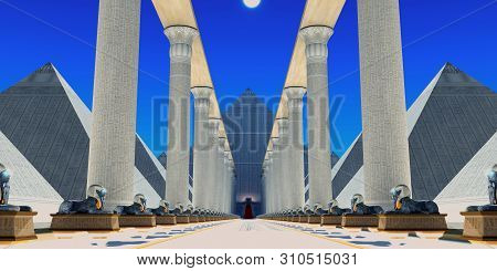 Hall Of The Sphinx 3d Illustration - The Sphinx Is A Mythical Creature With The Head Of A Human With
