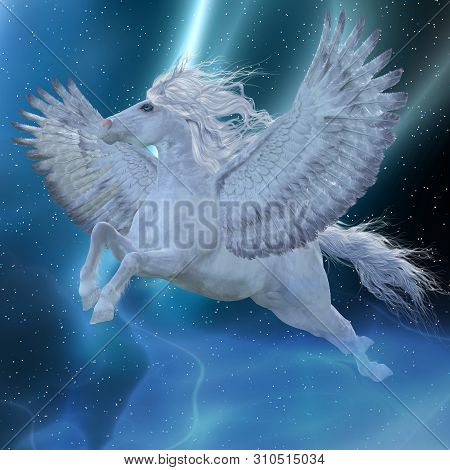 Mystic Pegasus 3d Illustration - Pegasus Is A Mystical Divine Stallion Which Is A Legendary White Ho