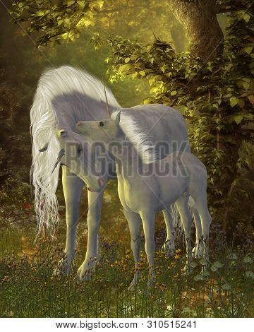 Unicorn Bonding 3d Illustration - A White Unicorn Mare Shows Her Affection For Her Little Colt In A