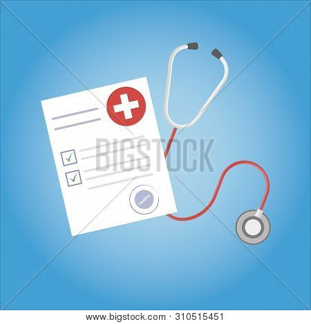 Medical Research Report Or Contract Vector, Flat Cartoon Health Or Medical Record Paper Or Insurance