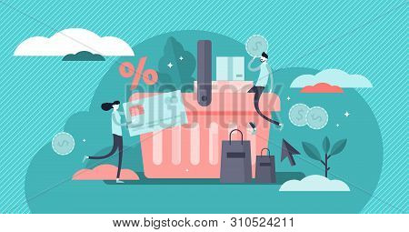 Purchase Vector Illustration. Flat Tiny Customer Buy Products Persons Concept. Percentage Promotion