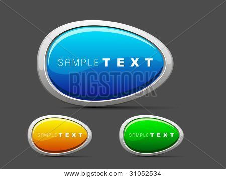 Set of shiny web 2.0 buttons. eps 10. Use as label, tag, icon and button in oval shape  vector illustration in orange, blue and  green colors
