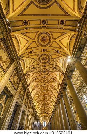 Rome, Italy - March 21, 2019 Long Nave Pillars Basilica Santa Maria Maggiore Rome Italy. One Of 4 Pa