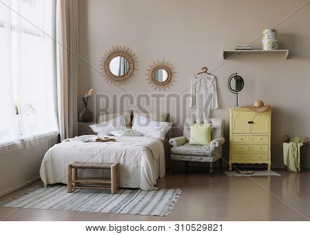 Modern Home Interior Design. Bed With And Pillows, Blanket. Exotic Bedroom Interior, Scandinavian St