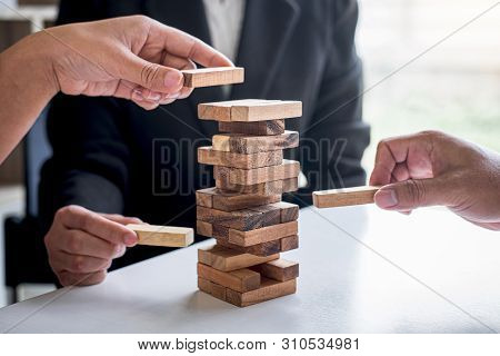 Alternative Risk And Strategy In Business, Hand Of Business Team Cooperative Gambling Placing Making