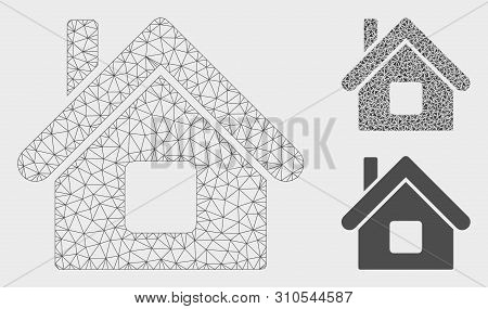 Mesh Home Model With Triangle Mosaic Icon. Wire Frame Triangular Mesh Of Home. Vector Composition Of