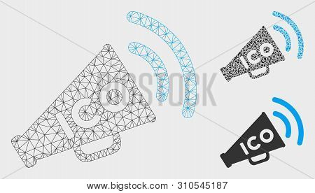 Mesh Ico News Megaphone Model With Triangle Mosaic Icon. Wire Frame Polygonal Mesh Of Ico News Megap