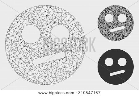 Mesh Indifferent Smiley Model With Triangle Mosaic Icon. Wire Frame Triangular Mesh Of Indifferent S