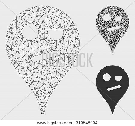 Mesh Infidelity Smiley Map Marker Model With Triangle Mosaic Icon. Wire Frame Polygonal Network Of I