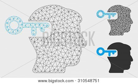 Mesh Intellect Key Model With Triangle Mosaic Icon. Wire Carcass Triangular Mesh Of Intellect Key. V