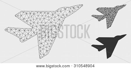 Mesh Intercepter Model With Triangle Mosaic Icon. Wire Frame Triangular Mesh Of Intercepter. Vector
