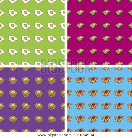 Seamless Doodle Breakfast Patterns