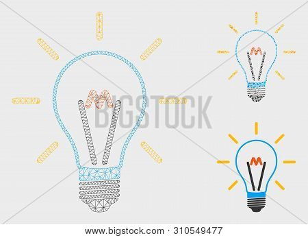 Mesh Invent Bulb Model With Triangle Mosaic Icon. Wire Carcass Polygonal Network Of Invent Bulb. Vec