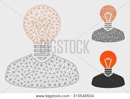 Mesh Inventor Model With Triangle Mosaic Icon. Wire Frame Polygonal Network Of Inventor. Vector Mosa