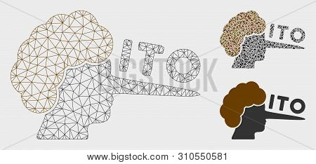 Mesh Ito Lier Model With Triangle Mosaic Icon. Wire Frame Triangular Mesh Of Ito Lier. Vector Mosaic