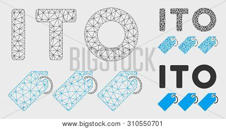 Mesh Ito Tokens Model With Triangle Mosaic Icon. Wire Carcass Triangular Mesh Of Ito Tokens. Vector