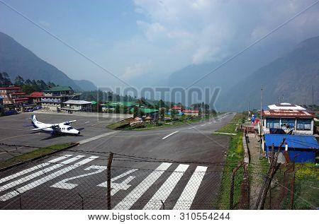Lukla, Nepal - May 8, 2019: View of Tenzing–Hillary airport runway in Himalayas mountains
