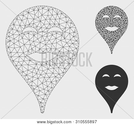 Mesh Lady Pleasure Smiley Map Marker Model With Triangle Mosaic Icon. Wire Carcass Polygonal Mesh Of