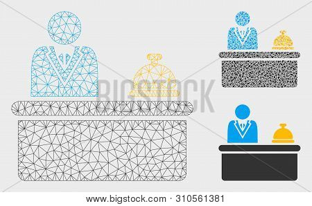 Mesh Lobby Desk Model With Triangle Mosaic Icon. Wire Carcass Triangular Mesh Of Lobby Desk. Vector