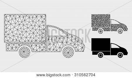 Mesh Lorry Model With Triangle Mosaic Icon. Wire Carcass Polygonal Network Of Lorry. Vector Mosaic O