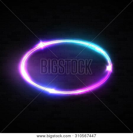 Oval Neon Sign. Laser Chrome Frame With Glowing, Light, Flares And Sparkles On Black Brick Wall Back