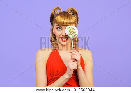 Beautiful Woman With Fashion Hairstyle Holds Candy Lollipop. Sexy Blonde Girl With Lollipop Having F