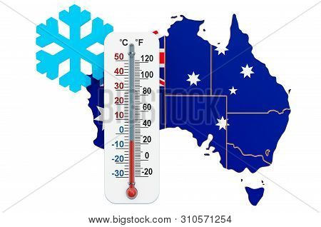 Extreme Cold In Australia Concept. 3d Rendering Isolated On White Background